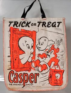 Vintage Casper the Friendly Ghost trick-or-treat bag for Halloween.