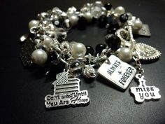 Marine Wife Charm Bracelet-Black and White- can be made for any branch