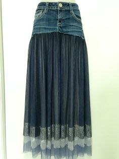 Refashioned Hydraulic Denim with Romantic, Sheer n' Lace Skirt This adorable refashioned skirt has been created using a pair of size seven/eight Hydraulic denim bottoms, which have been decoratively … Diy Clothing, Sewing Clothes, Custom Clothes, Denim Fashion, Fashion Tips, Style Fashion, Denim Ideas, Denim Crafts, Denim And Lace