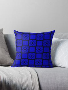 Midnight blue squares pattern by Silvia Ganora #pattern  #blue #squares #boxes #pillow #throwpillows #modern