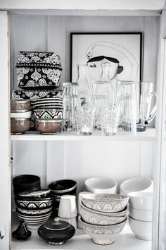 Black, white and grey Morrocan style kitchen wares