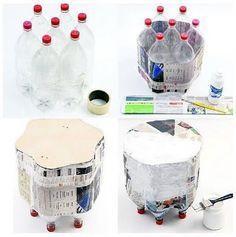7 garrafas PET + folhas de jornal = assento  glanerie-moderne  (via EL MUNDO DEL RECICLAJE: Recicla botellas de plástico)