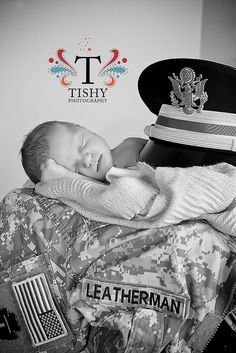 Just our last name on daddy's uniform and our little girl...LOVE LOVE LOVE this idea