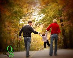 Fall family photo idea no swinging just walking holding hands