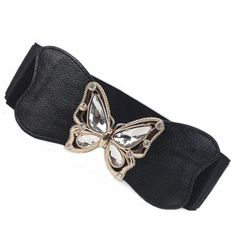 Chic Rhinestoned Butterfly Shape Buckle Women's PU Elastic BeltBelts | RoseGal.com
