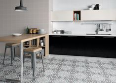 Renaissance Calipso 200 x 200 Encaustic Style Tile - The Tile Company Kitchen Tiles, Kitchen Flooring, Deco Retro, Best Floor Tiles, Urban Decor, Traditional Tile, Feature Tiles, Encaustic Tile, Style Tile