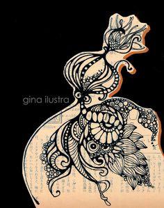 Gina designer ilustradora: Nanquim em Papel Jornal