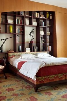 Contemporary Master Bedroom with Standard height, Custom cabinetry with beadboard flat panel, Floral area rug, can lights