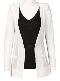 White Long Sleeve Pockets Sheer Silk Blazers
