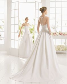 MICAELA vestido de novia  en pique pedreria y tul.