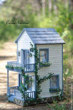 Купить Домик-Лето - голубой, кукольный дом, домик, кукольная миниатюра, румбокс, коттедж