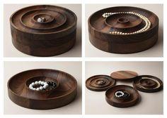 Saskia Diez Wooden Jewelry Box (the AC02 Jewel) designed for e15 is a modular four-piece jewelry case made from European walnut