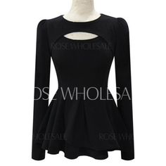 Solid Color Cut Out Waisted Corset Stylish Round Neck Long Sleeve Women's T-Shirt $10.33