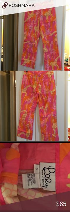 Lilly Pulitzer Giraffe Print Capris Vintage Lilly Pulitzer capris in giraffe print. Excellent pre loved condition. Lilly Pulitzer Pants Capris