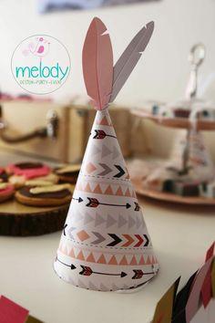Kızılderili tema doğum gününe özel parti şapkaları, partyhat, party hat, indian party, feather party