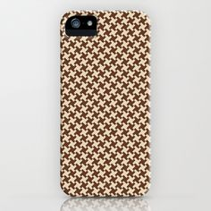 Houndstooth Brown & Cream small iPhone & iPod Case by Julie's Thingummies - $35.00 Hounds Tooth, Dog Teeth, Fabric Design, Ipod, Fabrics, Iphone Cases, Cream, Brown, Houndstooth
