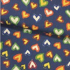 Tissu Denim Bleu jean foncé Cœurs Jaunes et blanches - Par 10 cm