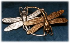 "ButtonArtMuseum.com - Artisian Studio Button ""Dance of The Dragonflies"" Silver Gold Plated Brass"