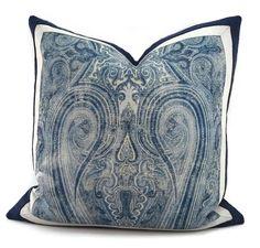 Blue Gray & Off White Ralph Lauren Birchwood by ThePillowSpot