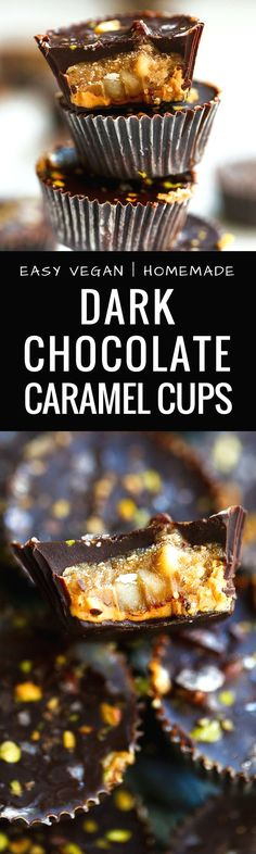Easy Vegan Dark Chocolate Caramel Cups. These vegan, paleo treats are made with creamy cashew butter, filled with caramel and covered in dark chocolate. Healthy vegan recipes. Healthy vegan desserts. Chocolate vegan dessert recipes. Dairy free caramel cup