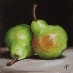 """Daily Paintworks - """"Pair of Pears"""" - Original Fine Art for Sale - © Jane Palmer Fruits Drawing, Pyrus, Oil Pastel Art, Still Life Fruit, Fruit Painting, Painting Still Life, Fruit Art, Christmas Art, Art Oil"""