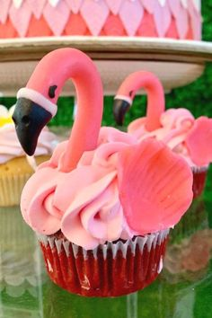 Feast your eyes on this amazing flamingo birthday party! The cupcakes are stunning!  See more party ideas and share yours at CatchMyParty.com  #catchmyparty #partyideas #flamingos #flamingoparty #girlbirthdayparty