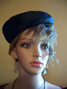 Women's Sculpted linen tilt porkpie hat 30's by ditchrosevintage on Etsy