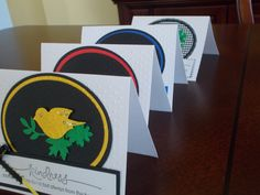 """A set of assorted greeting cards using the """"bird"""" punch.  Can choose from a variety of verses and colors"""