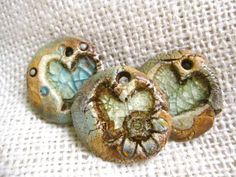 Pamela Petry - Ceramic Heart Medallion with recycled glass heart