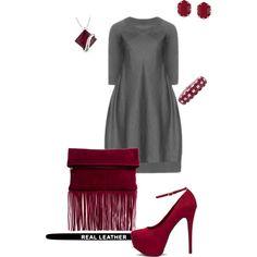 """Gray dress/merlot- plus size"" by gchamama on Polyvore"