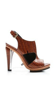 Embossed Crocodile Leather Sandal With Clear Lucite Wedge by Rodarte for Preorder on Moda Operandi