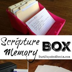 I've been using this Scripture memory box to help me learn new Bible verses & to review the ones I've already learned. An easy method to use with kids, too.