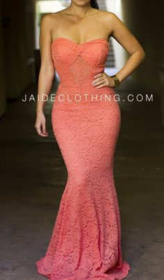 Coral Mermaid Bustier Lace Maxi Dress