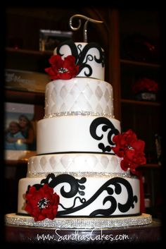 WEDDING CAKE RED | Sandra's Cakes: Red, Black and White Wedding Cake