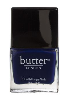 """Navy Nail Polish: Get the runway look:  For a manicure you can pair with any outfit and fabric texture, go for a solid, full-coverage finish with Butter London nail lacquer in Royal Navy. """"Whenever you go dark and sumptuous, make the nail length short, crisp, and defined,"""" says CND Founder Jan Arnold.    Photo: courtesy of Nordstrom"""
