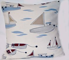 Boats Throw Pillow Cushion Cover Nuatical Seaside by GreenCallow
