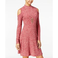 One Hart Juniors' Space-Dyed Cold-Shoulder Sweater Dress, ($40) ❤ liked on Polyvore featuring dresses, merlot, cut out dresses, mock turtleneck, ribbed knit dress, cold shoulder dress and cutout shoulder dresses