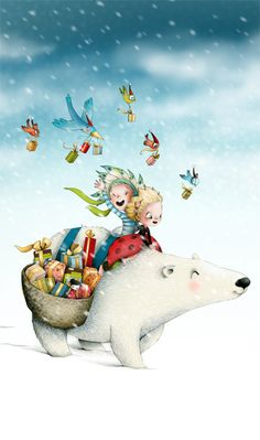 Kai Fine Art is an art website, shows painting and illustration works all over the world. Illustration Mignonne, Winter Illustration, Christmas Illustration, Children's Book Illustration, Art D'ours, Art Mignon, Bear Art, Illustrations And Posters, Whimsical Art