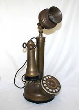 Antique 1920s Rotary Dial Candlestick Telephone Copper Bakelite United States