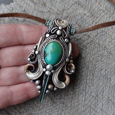SHIPPING INCLUDED Green Tourmaline Turquoise Pendant by FairyDrop tourmaline crystal mermaid dragon fantasy jewelry clay crystal gemstone necklace