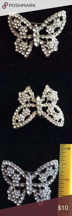 Butterfly rhinestone brooch pin Silver tone butterfly  brooch pin Jewelry Brooches