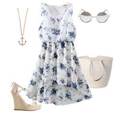 Flower Print High Low Chiffon Blue Dress-SheIn