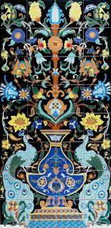 Peacocks & Flowers 2 Santa Barbara Hand Painted Tile Mural