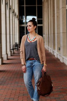Boyfriend jeans and statement necklace... Perfect casual date night look! Wearing Gap, J.Crew, Target, and Givenchy on Palm and Peachtree
