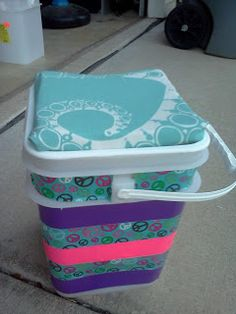 Have the kids help decorate their own bucket seat with duct tape, carpet padding and fabric. They can store toys and books inside!