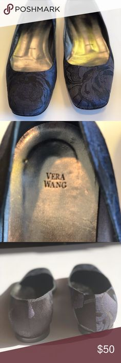 Vera Wang Brocade Navy Flats These flats are so beautiful. Perfect for a dressy outfit if you don't want to wear heels or you can also wear casual w jeans. Worn once. These are euro size 37. Made in Italy. Vera Wang Shoes Flats & Loafers
