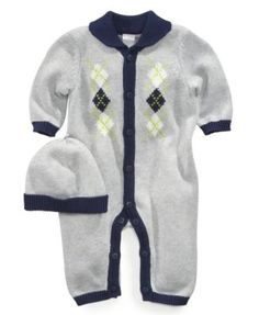 Little Me Baby Set, Baby Boys 2-Piece Argyle Coverall and Hat
