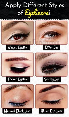 How to apply different styles of eyeliners #BestEyeSerum Perfect Eyeliner, How To Apply Eyeliner, Winged Eyeliner, How To Apply Makeup, Eyeliner Ideas, Eyeliner Liquid, Simple Eyeliner, Different Eyeliner Styles, Different Styles