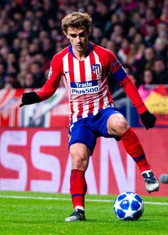 Antoine Griezmann, of Atletico de Madrid during the UEFA Champions. Antoine Griezmann, Uefa Champions, Champions League, Soccer News, Perfect Legs, Football Boys, Football Wallpaper, Best Player, Soccer Cleats