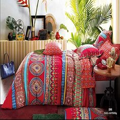 Amazon.com - Lt Full/queen Size 100% Cotton 4-pieces Boho Style Bohemian Red Blue Golden Green Jaipur Vintage Floral Prints Duvet Cover Set/bed Linens/bed Sheet Sets/bedclothes/bedding Sets/bed Sets/bed Covers/5-pieces Comforter Sets Bed in a Bag (4pcs Without Comforter) -